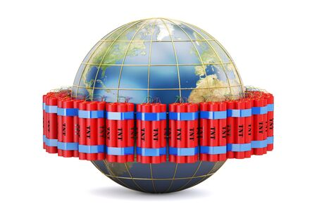Earth globe with dynamite , 3D rendering isolated on white background Stock Photo