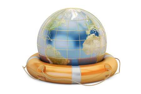 Earth globe with lifebuoy. Save the world concept, 3D rendering isolated on  white background