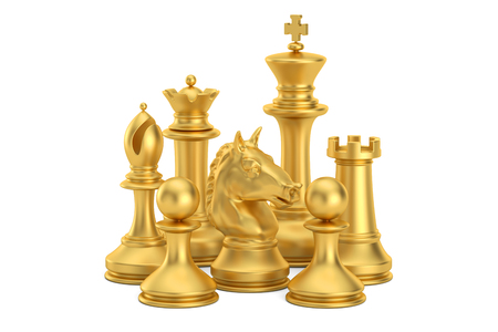 Golden chess figures, 3D rendering isolated on white background