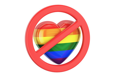 Heart with rainbow gay flag in forbidden sign, 3D rendering Stock Photo