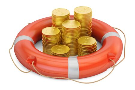 Lifebuoy with golden dollar coins, 3D rendering isolated on white background