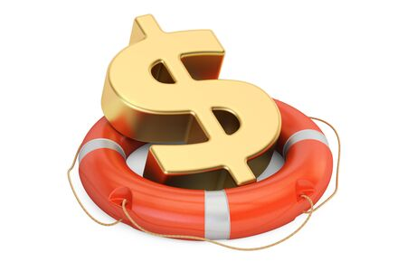 Lifebuoy with golden dollar symbol, 3D rendering isolated on white background