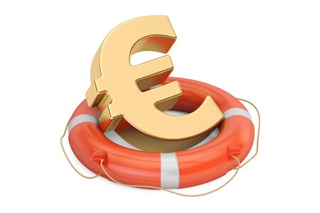 Lifebuoy with golden euro symbol, 3D rendering isolated on white background