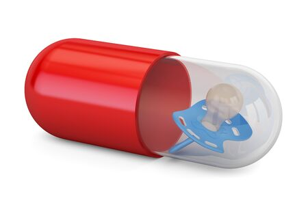 Baby Medicine concept. Capsule, pill with pacifier, 3D rendering