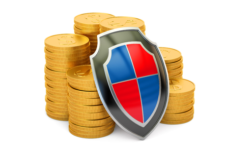 golden coins with shield, financial insurance and business stability concept. 3D rendering Stock Photo