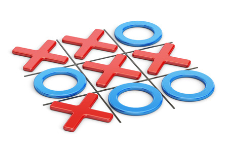 Tick-tac-toe, noughts and crosses game. 3D rendering Stock Photo