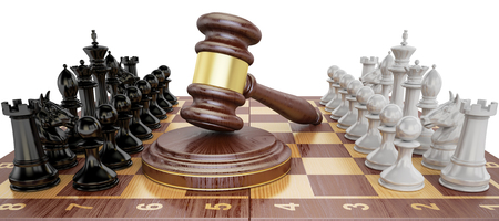 Gavel on chess board with figures. Law chess concept, 3D rendering  Stock Photo