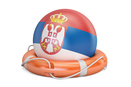 Lifebelt with Serbia flag, safe, help and protect concept. 3D rendering Stock Photo