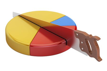 Pie chart with cutting saw. Financial risk concept, 3D rendering Stock Photo