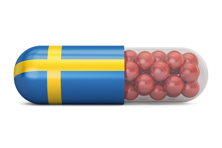 Pill capsule with Sweden flag. Swedish health care concept, 3D rendering Stock Photo