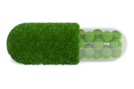 Grass pill capsule, 3D rendering isolated on white background