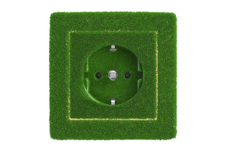 Grassy electric socket, green energy concept. 3D rendering isolated on white background