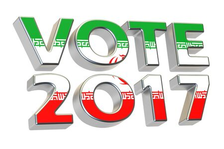 presidential: Vote 2017 in Iran. Iranian presidential election concept, 3D rendering isolated on white background