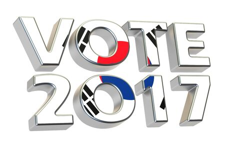 presidential: Vote 2017 in South Korea, presidential election concept. 3D rendering isolated on white background