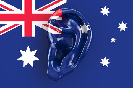 Australian intelligence concept, ear on the flag of Australia. 3D rendering