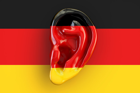 German intelligence concept, ear on the flag of Germany. 3D rendering Stock Photo