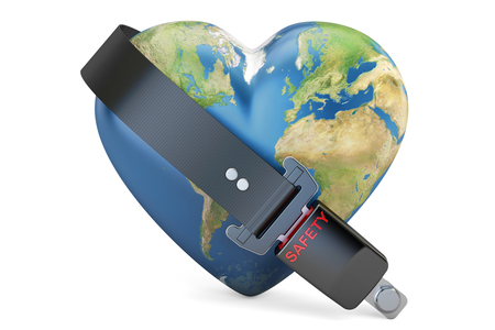 Heart world globe with safety belt, safety and secure concept. 3D rendering isolated on white background