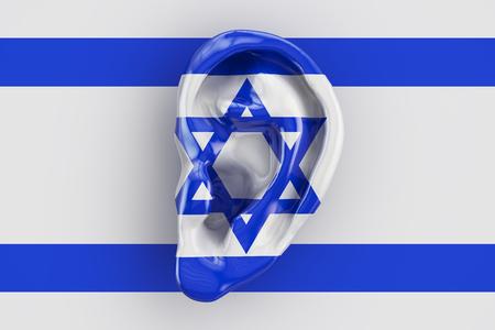 snoop: Israeli intelligence concept, ear on the flag of Israel. 3D rendering