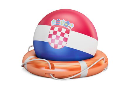 Lifebelt with Croatia flag, safe, help and protect concept. 3D rendering