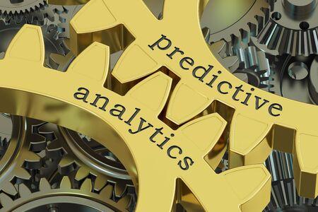predictive analytics concept on the gearwheels, 3D rendering