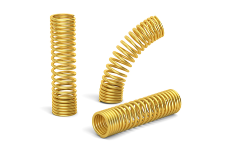 Set of golden helical coil springs, 3D rendering isolated on white background Stock Photo