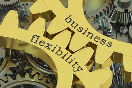 flexible business: Business Flexibility concept on the gearwheels, 3D rendering