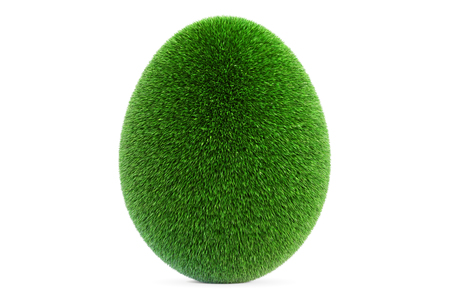 Egg from grass, eco concept. 3D rendering isolated on white background