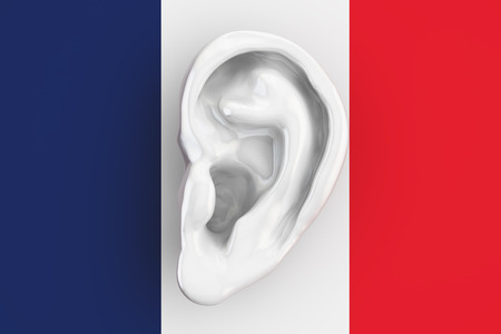 snoop: French intelligence concept, ear on the flag of France. 3D rendering Stock Photo