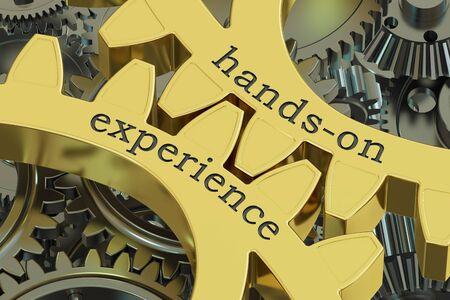 hands-on ervaring concept op de versnelling, 3D rendering Stockfoto