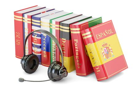 Headset and language books, learning and translate concept. 3D rendering