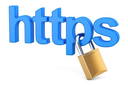 https with padlock, Safe and Secure Networking concept. 3D rendering Stock Photo