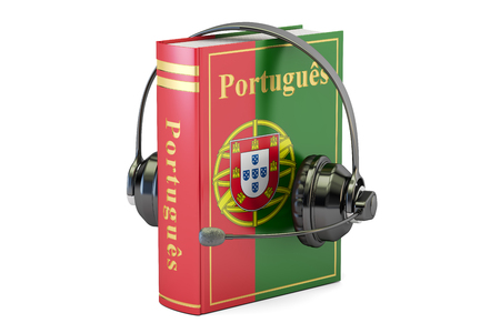 Portuguese language textbook with headset, learning and translate concept. 3D rendering