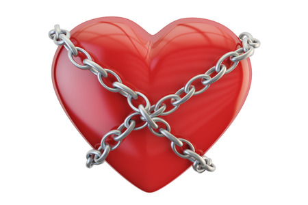 Red heart with chain, 3D rendering isolated on white background