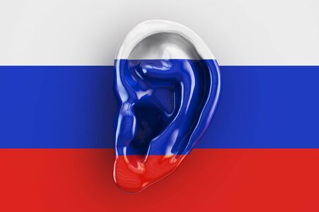 snoop: Russian intelligence concept, ear on the flag of Russia. 3D rendering