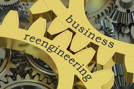bpr: Business Reengineering concept on the gears, 3D rendering