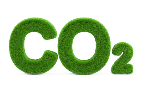 CO2 from grass inscription, 3D rendering isolated on white background
