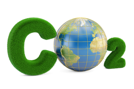 CO2 from grass inscription with globe, 3D rendering isolated on white background