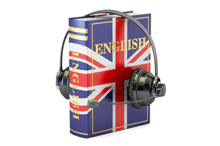 English language textbook with headset, learning and translate concept. 3D rendering