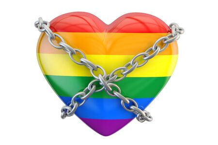 gay heart rainbow with chain, safety and secure concept. 3D rendering