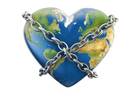 Heart world globe close in chain, security concept. 3D rendering isolated on white background