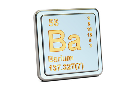 atomic symbol: Barium Ba, chemical element sign. 3D rendering isolated on white background