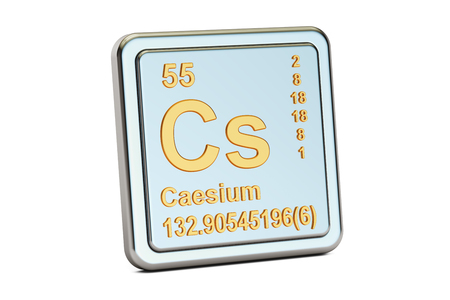 atomic number: Caesium Cs, chemical element sign. 3D rendering isolated on white background
