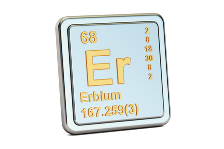 atomic symbol: Erbium Er, chemical element sign. 3D rendering isolated on white background