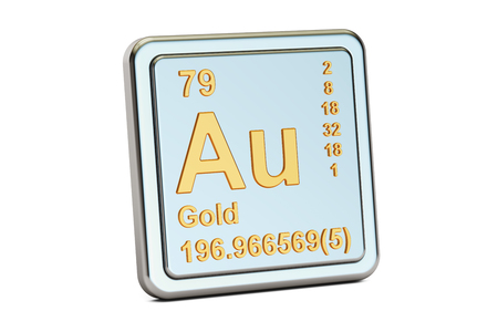 aurum: Gold aurum Au, chemical element sign. 3D rendering isolated on white background