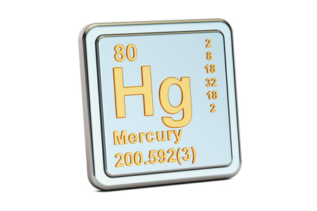 Mercury Hg, chemical element sign. 3D rendering isolated on white background Stock fotó