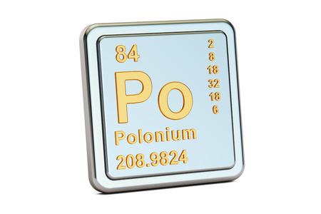 po: Polonium Po, chemical element sign. 3D rendering isolated on white background