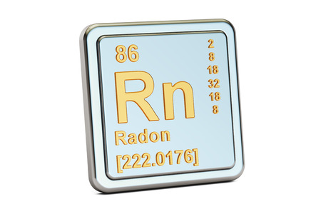 radon: Radon Rn, chemical element sign. 3D rendering isolated on white background