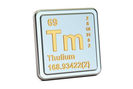 atomic symbol: Thulium Tm, chemical element sign. 3D rendering isolated on white background