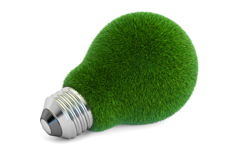 green bulb from glass, eco concept. 3D rendering