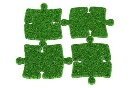 reusing: Green grass puzzle, 3D rendering isolated on white background